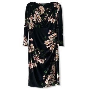 Lauren by Ralph Lauren Floral Surplice Black Dress
